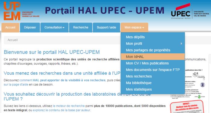 Copie d'écran du menu de création de l'IdHAL